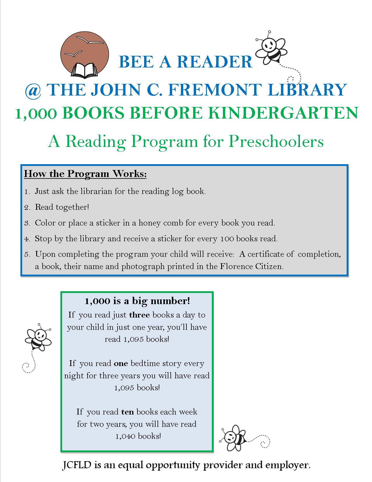1,000 Books Before Kindergarten – John C. Fremont Library District